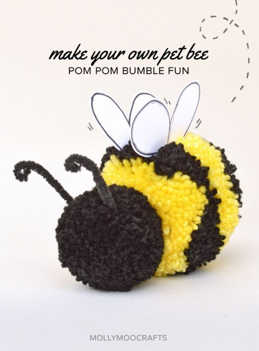 39 diy pom pom crafts which easy to make and ready to sell for Artificial bees for decoration