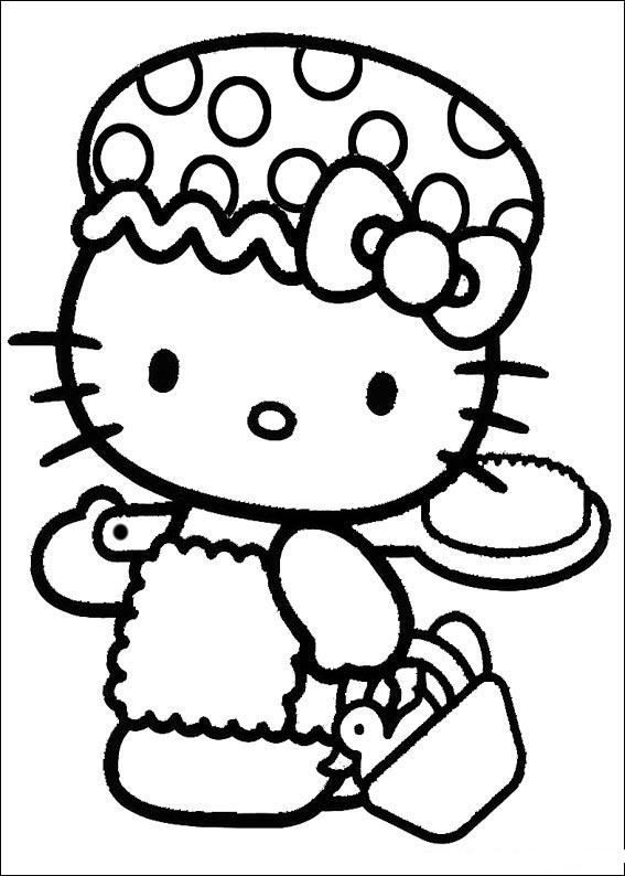Hello Kitty Coloring Pages For Kids Drawing With Crayons