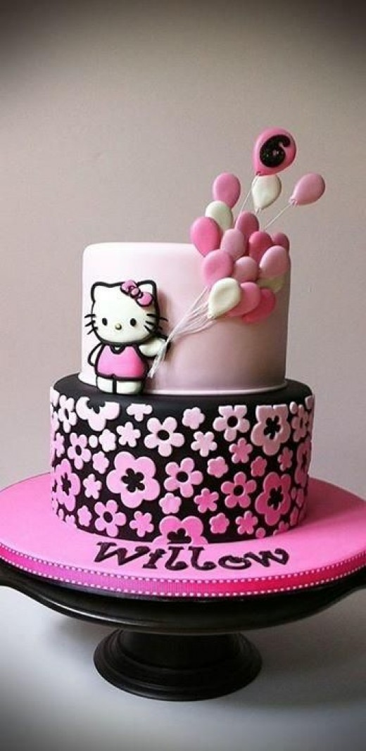 Neon Hello Kitty Birthday Cake