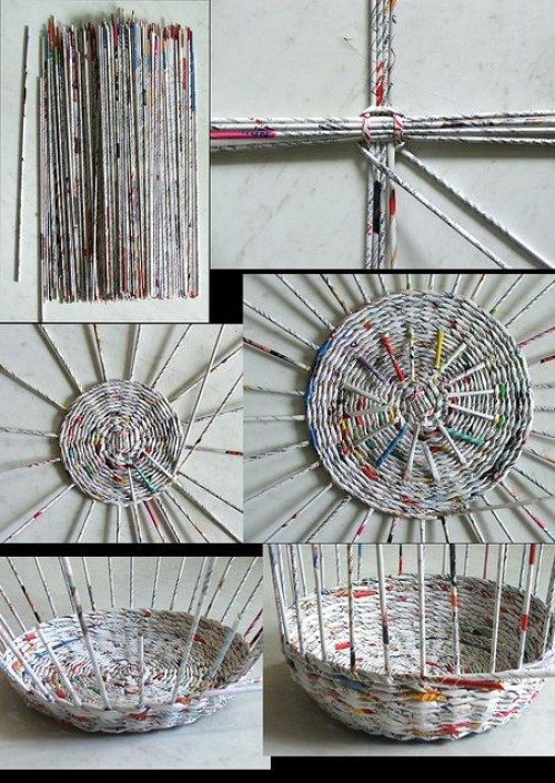 Handicraft Newspaper Basket : Some easy and nice diy newspaper wall hangings d?cor