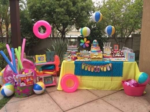 Some useful food and activities ideas for summer birthday for Backyard party decoration crossword