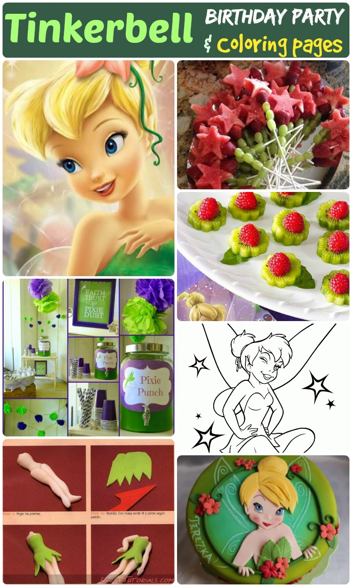 Tinkerbell Birtday party ideas and coloring pages