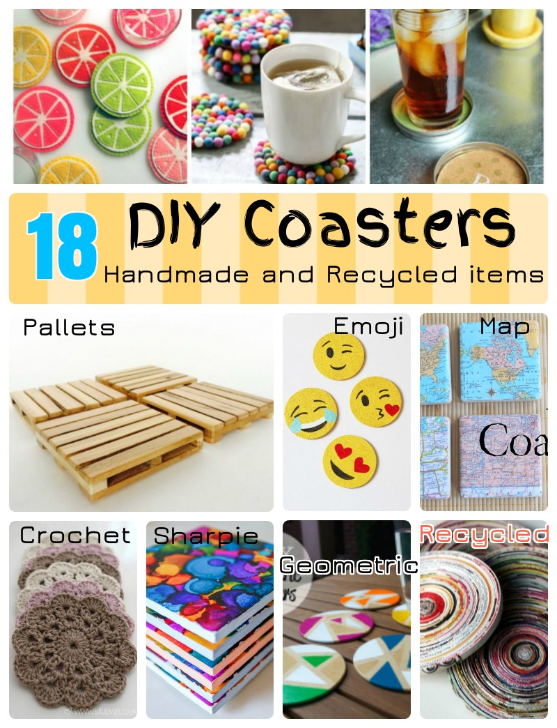 18 diy coaster ideas with recycled and reclaimed items for Diy handicraft items