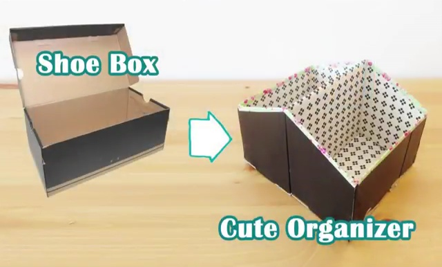 Diy storage ideas recycled shoe box organizer craft diy for Reuse shoe box ideas