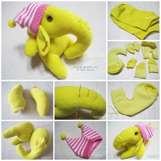 Elephant craft from socks resembles extremely cute and delightful, especially, those are made in the light shade, like pink, yellow, sea green, etc.