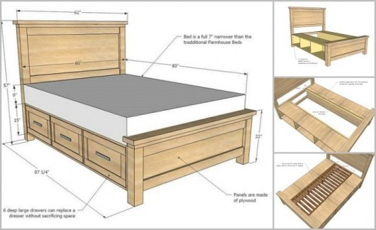 Diy storage bed ideas for small places diy craft ideas for Twin bed base with drawers