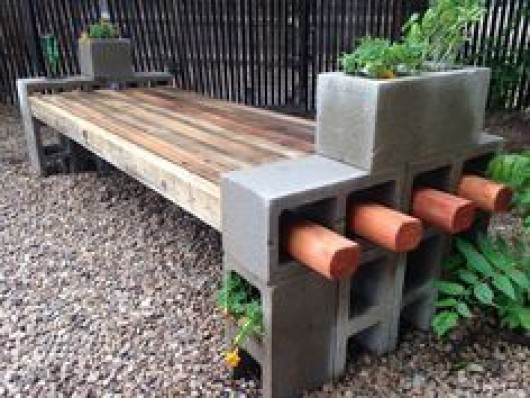 garden bench made with cinder blocks and reclaimed wood