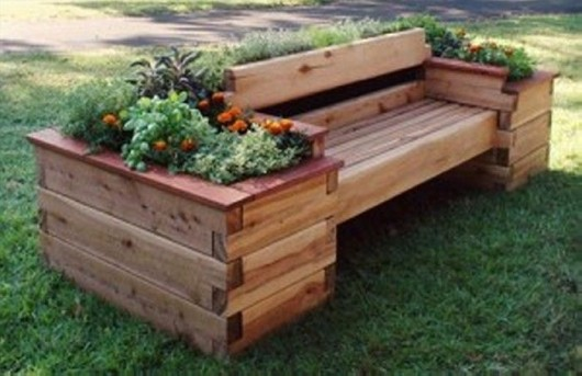 diy pallet furniture garden bench with planter box
