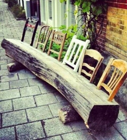 up cycled recycled wood log and chair backrest into garden bench