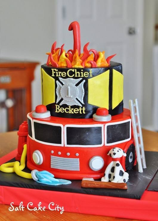 Excellent Fire Trucks And Fire Fighter Birthday Party Ideas Personalised Birthday Cards Arneslily Jamesorg