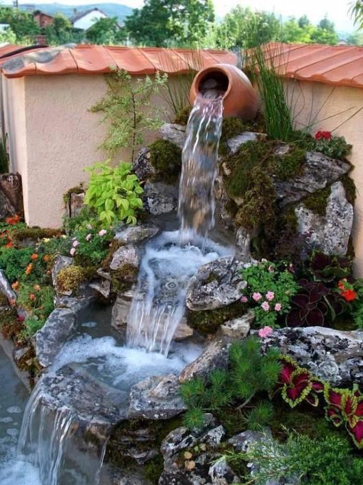 DIY Garden Ideas: 10 Garden Waterfalls and Inspiration Ideas on Front Yard Waterfall Ideas id=86531