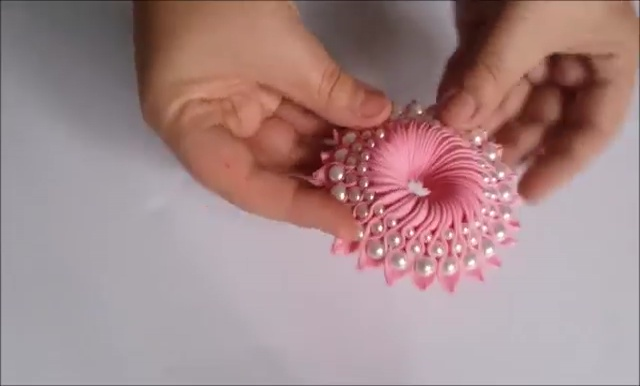 How to Ribbon Flower with Pearl Beads (29)