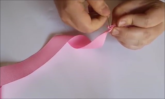 How to Ribbon Flower with Pearl Beads (9)