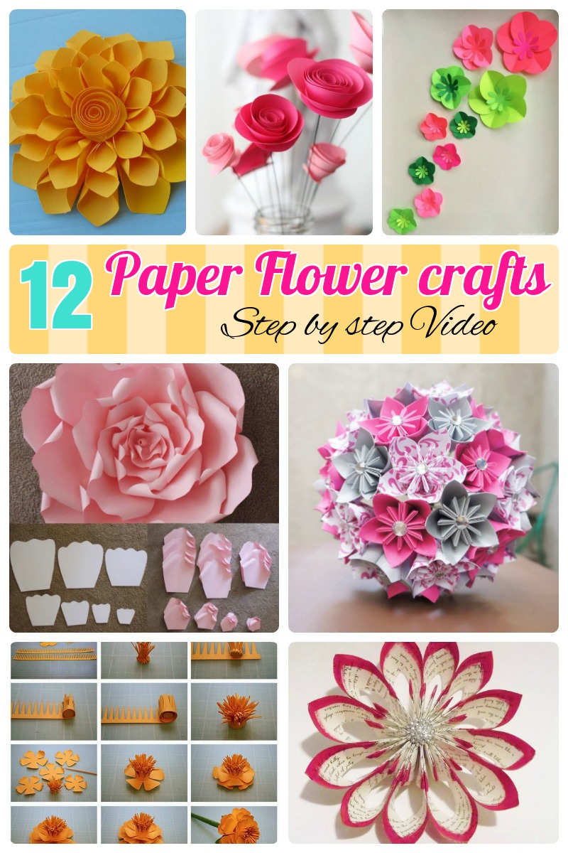 12 Step By Step Diy Papers Made Flower Craft Ideas For Kids