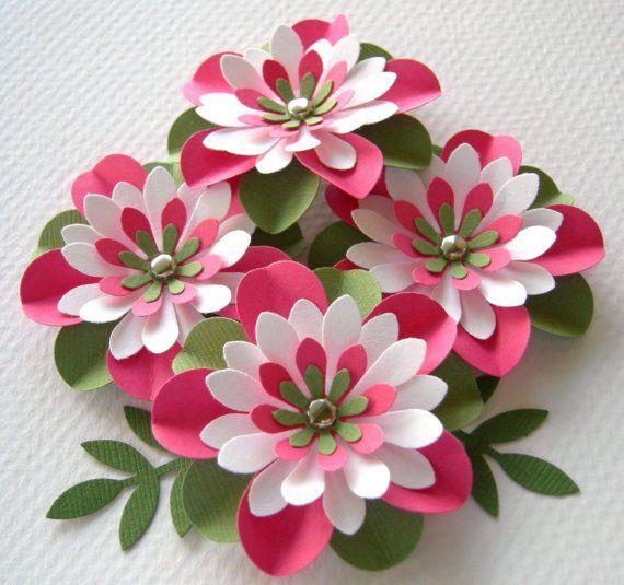 Paper flower crafts pink