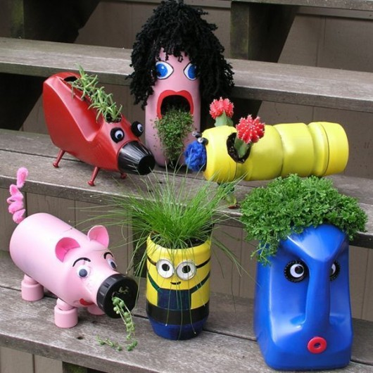 Diy garden ideas 37 recycled stuff gardening and garden for Garden decorations from recycled materials