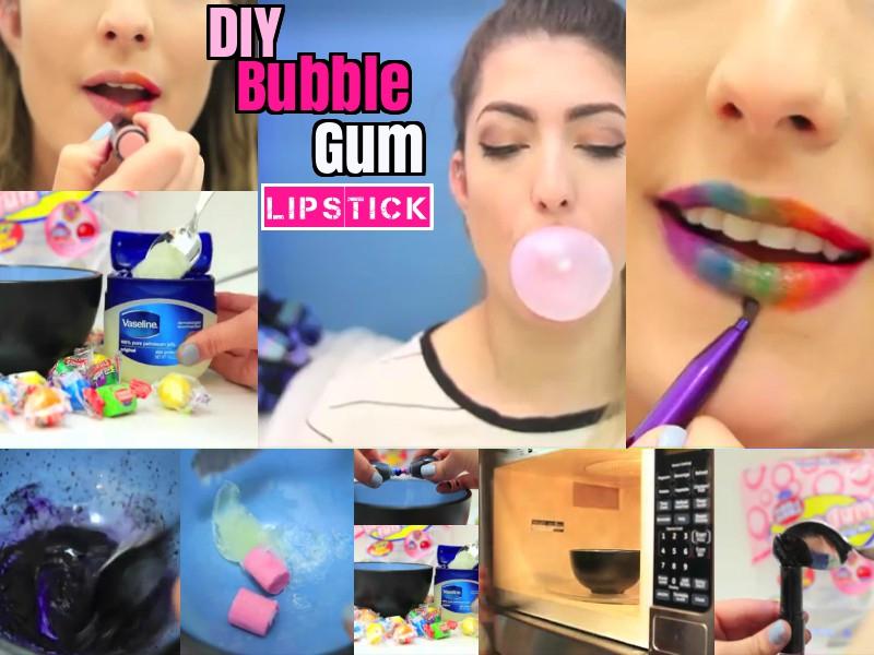 DIY Bubble Gum Lipstick  Step by Step Ideas