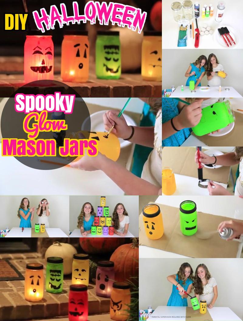 DIY Halloween Spooky Glow Mason Jars