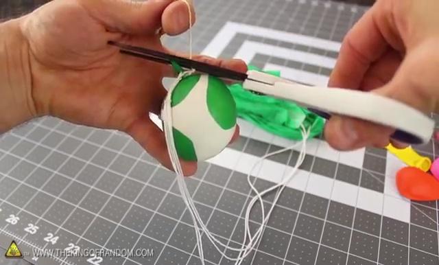 DIY How to make Parachute flying Sky balls (22)