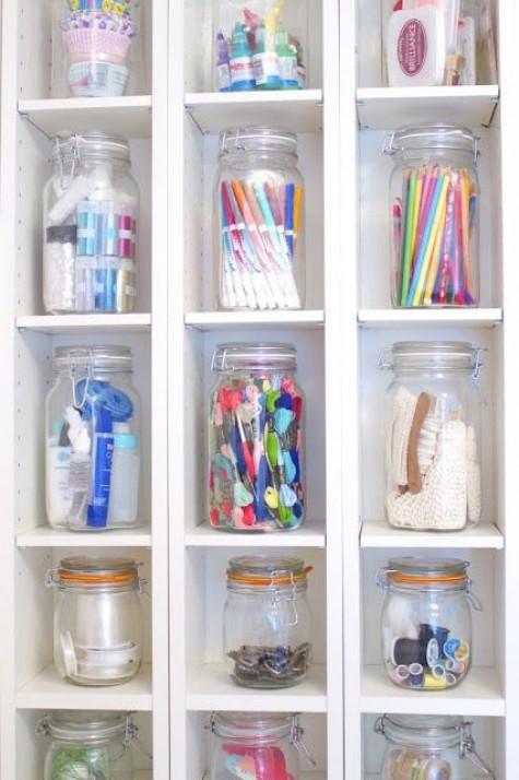 25 cute diy mason jar storage ideas space saving mason for Mason jar craft storage