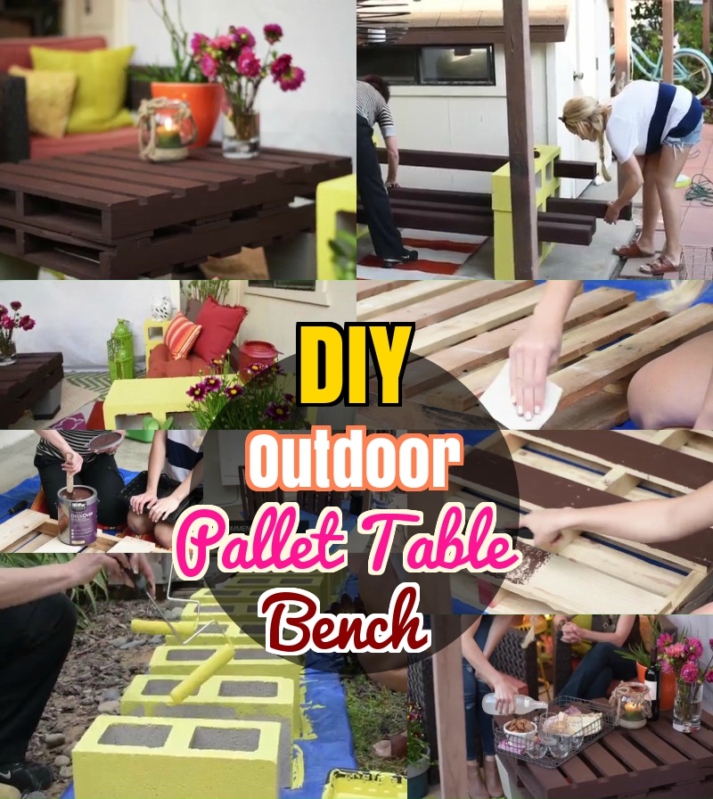 DIY Outdoor Furnitre Pallet Table Bench