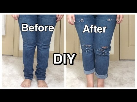 DIY ripped jeans distressed jean