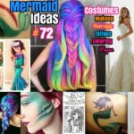 #72 DIY Mermaid Ideas : Mermaid Costumes Coloring pages Dresses and Hairstyles