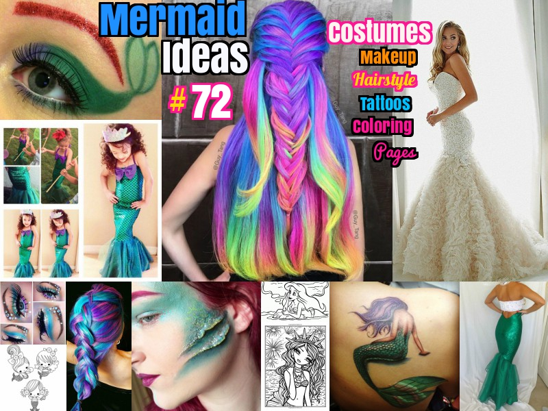 DIY and Mermaid Ideas costumes makeup hairstyles and coloring pages