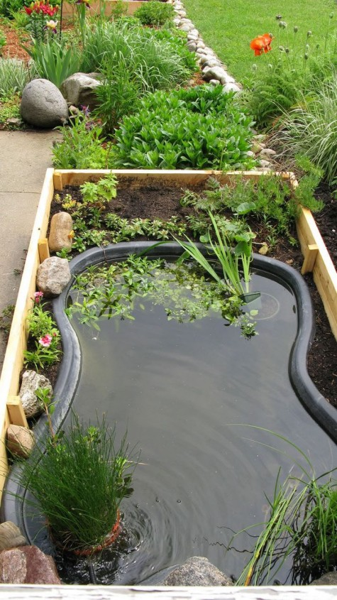 Diy water garden ideas 54 pond garden ideas and design for Diy garden pond ideas