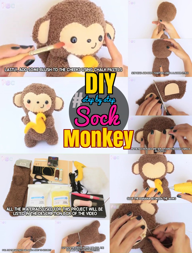 DIY step by step tutorial for making sock monkey