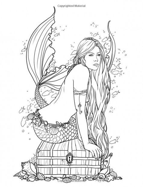 adult mermaid with treasure mermaid coloring pages