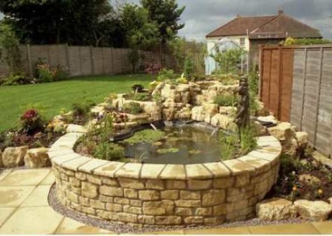60 diy water garden ideas container and pond water garden for Stone koi pond
