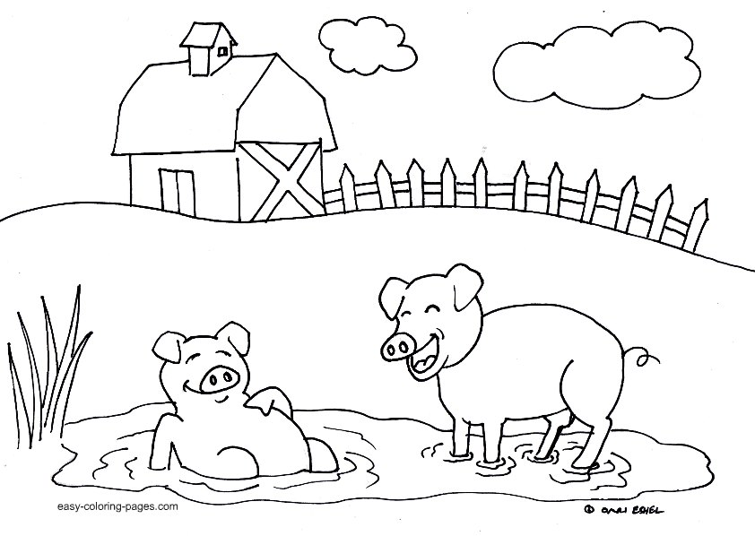 Diy farm crafts and activities with 33 farm coloring for Barn animals coloring pages