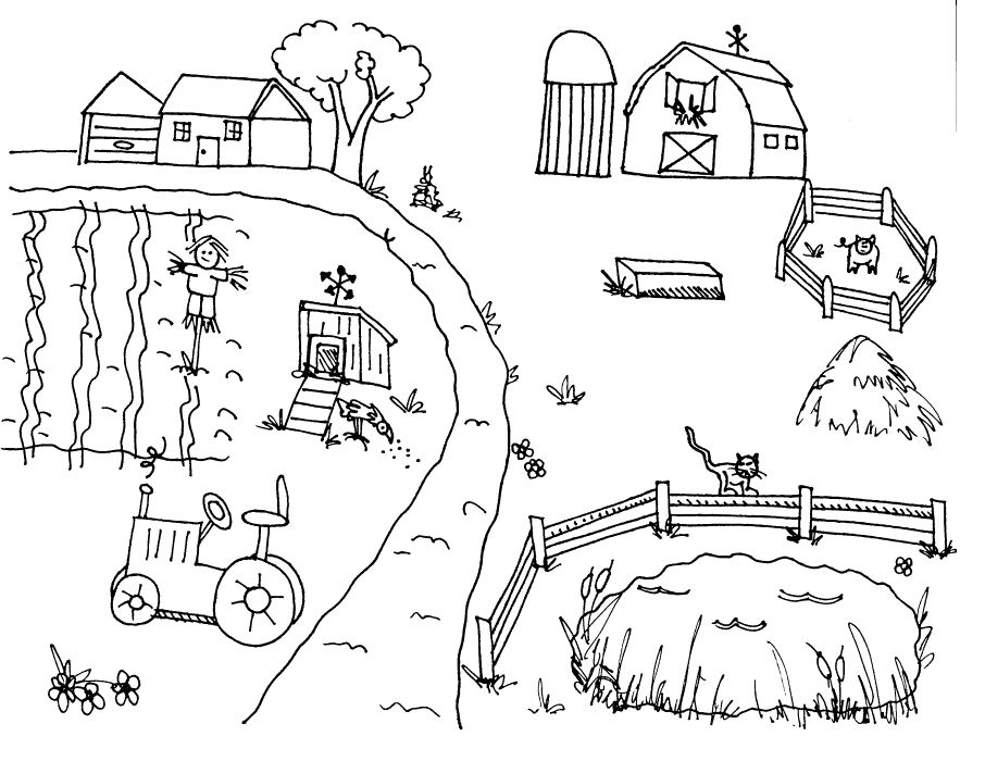 easy farm coloring page - photo #21