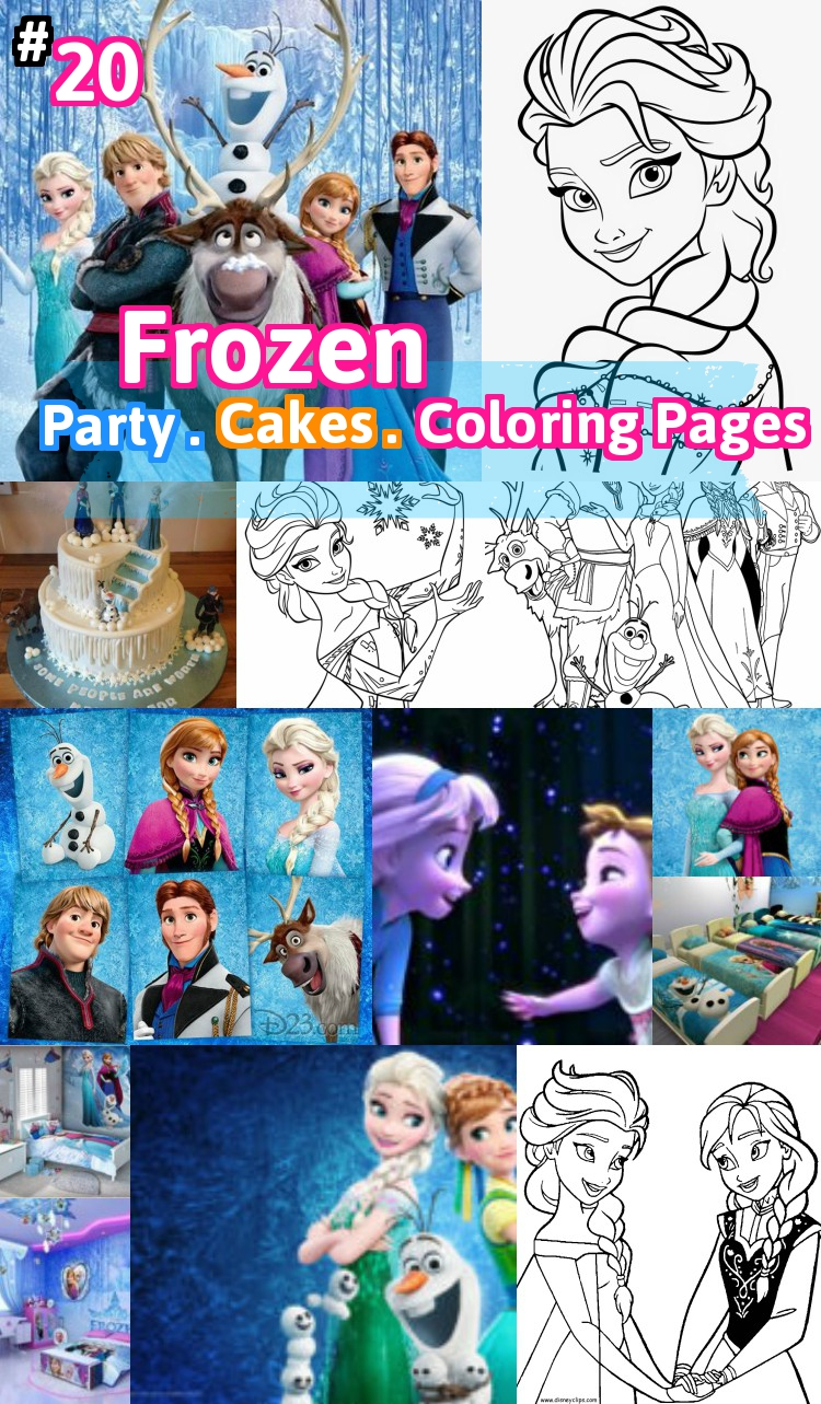 Frozen birthday party cakes coloring pages characters