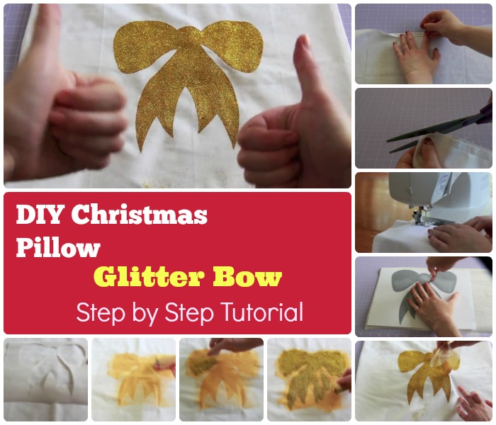 DIY Christmas Glittering Bow Pillow