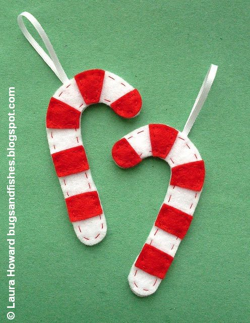 DIY Felt Christmas Ornaments Candy Cane