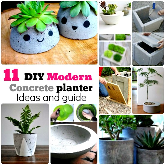 DIY modern concrete planter box ideas
