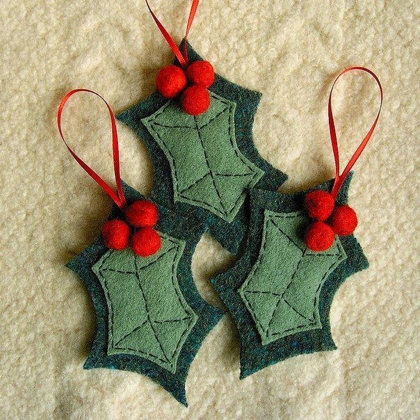 DIY Christmas felt ornaments christmas felt leaves