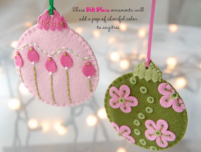 Christmas Floral Felt Ornaments