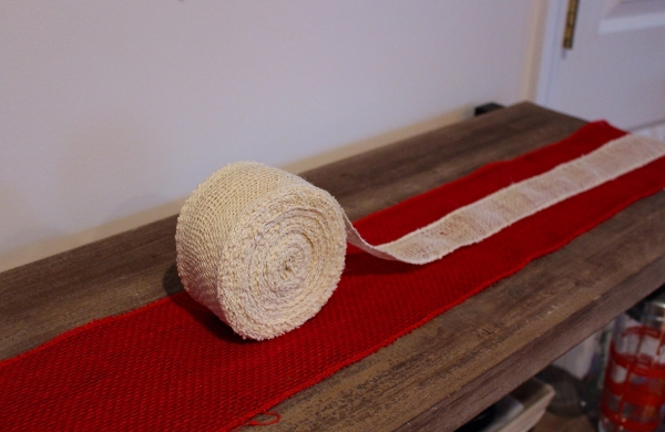 Burlap Red And White Table Ribbons