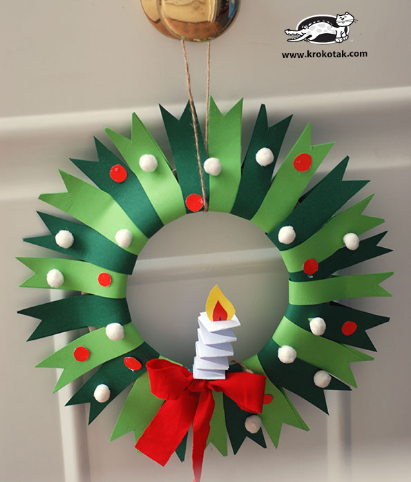 colorful paper plate christmas wreath