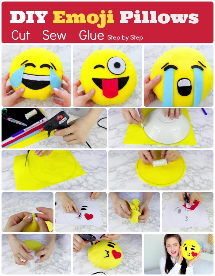 DIY Emoji Pillows cut sew glue method