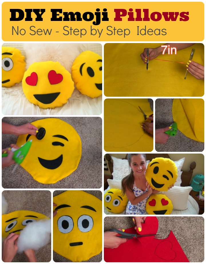 No sew DIY Emoji Pillows