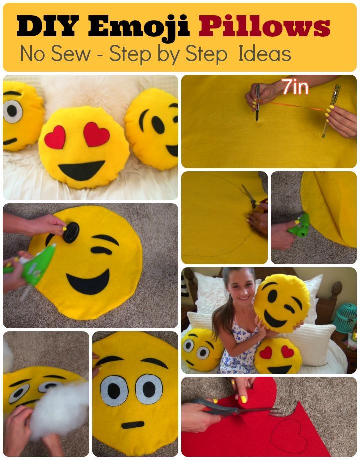No sew DIY Emoji Pillows