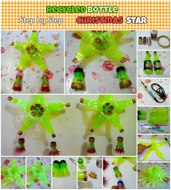 DIY Christmas Recycled Bottle Stars