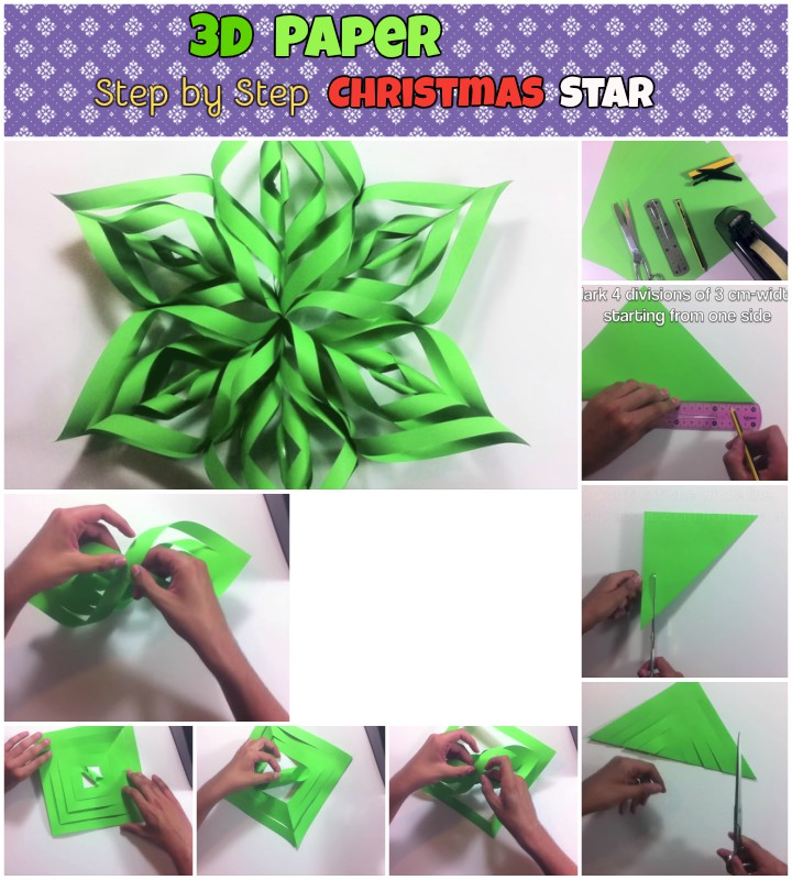 diy step by step 3d paper christmas stars
