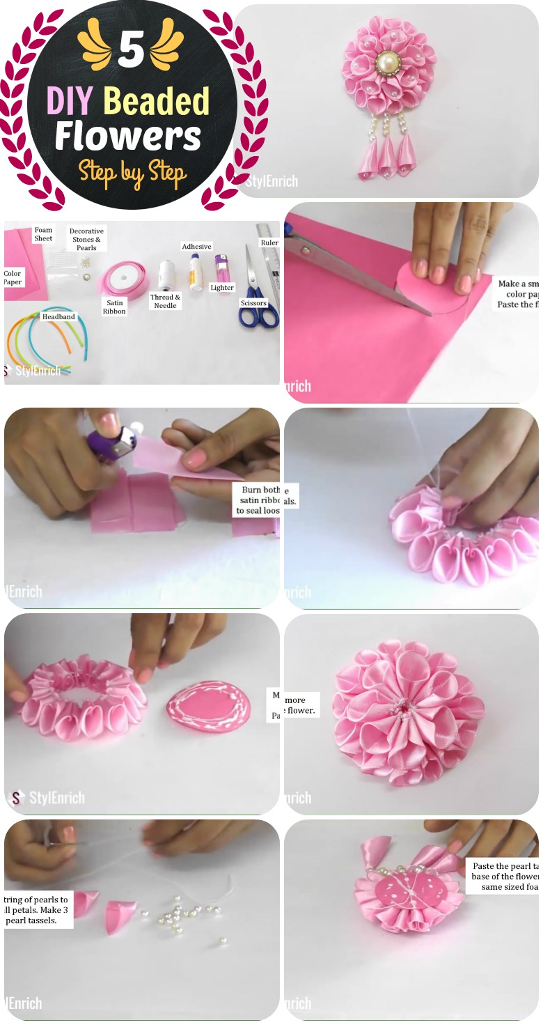 Diy 5 flower headband and beaded crown step by step with videos diy beaded santin ribbon flower headband izmirmasajfo