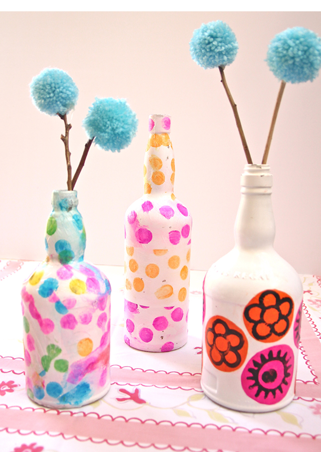 Decoupaged Wine Bottle Flower Vases Diy Bottle Crafts Diy Craft