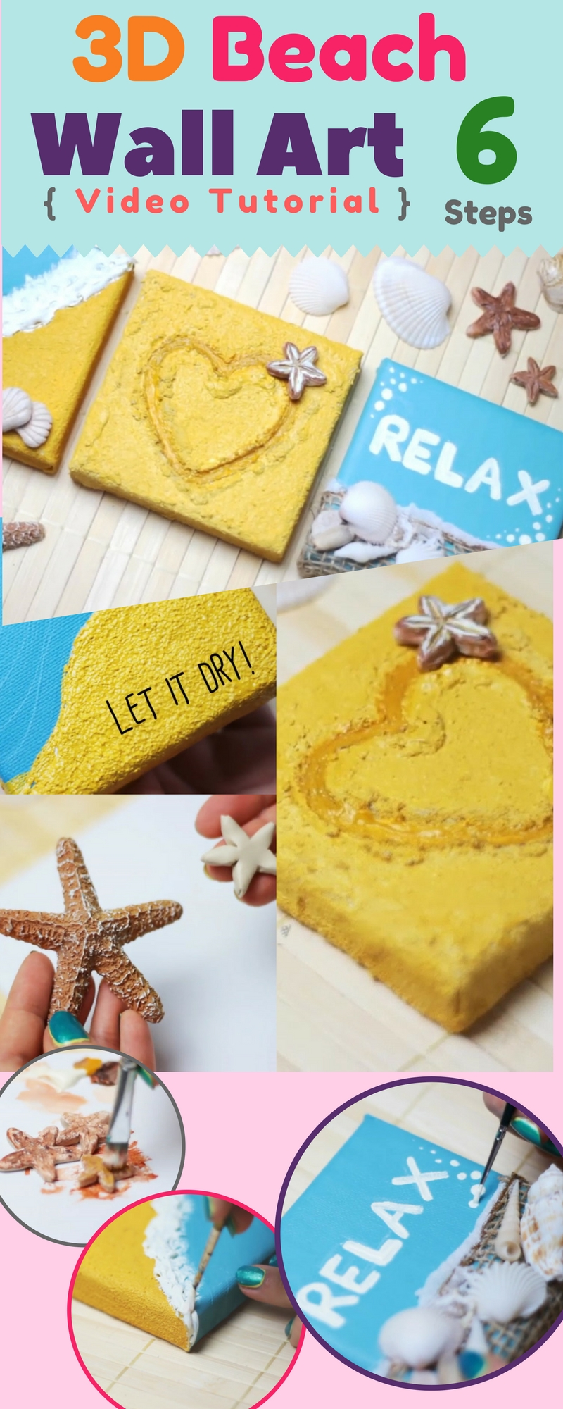 Effortless relaxing room decor diy 3d beach canvas wall art video 3d wall decor arts diy step by step tutorial baditri Image collections